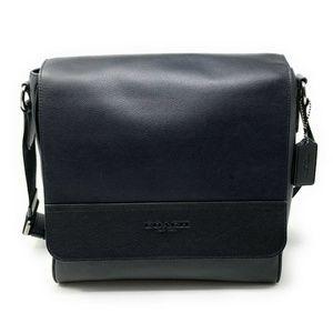 Coach Mens Houston Map Crossbody Bag Leather Black
